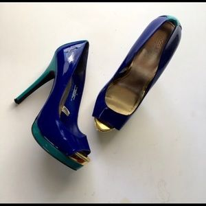 Peep Toe Heel, blue, green & metallic gold